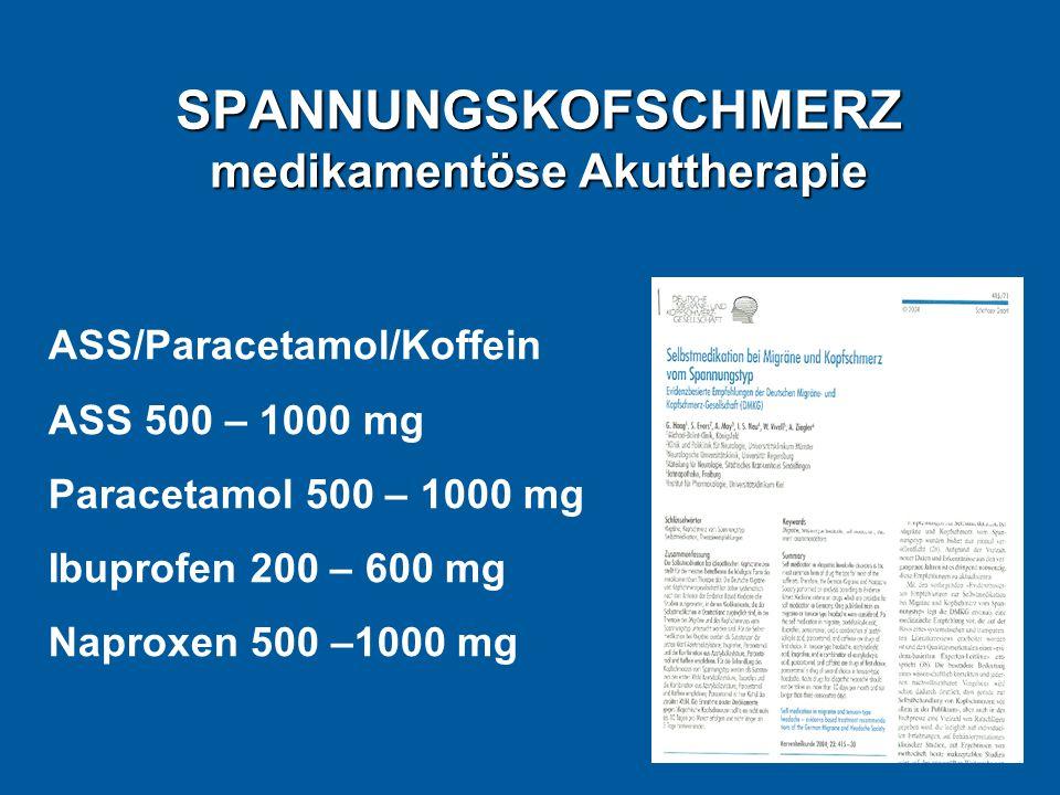 SPANNUNGSKOFSCHMERZ medikamentöse Akuttherapie