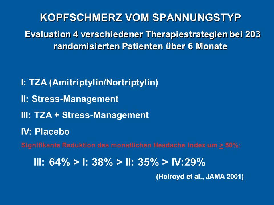 KOPFSCHMERZ VOM SPANNUNGSTYP Evaluation 4 verschiedener Therapiestrategien bei 203 randomisierten Patienten über 6 Monate