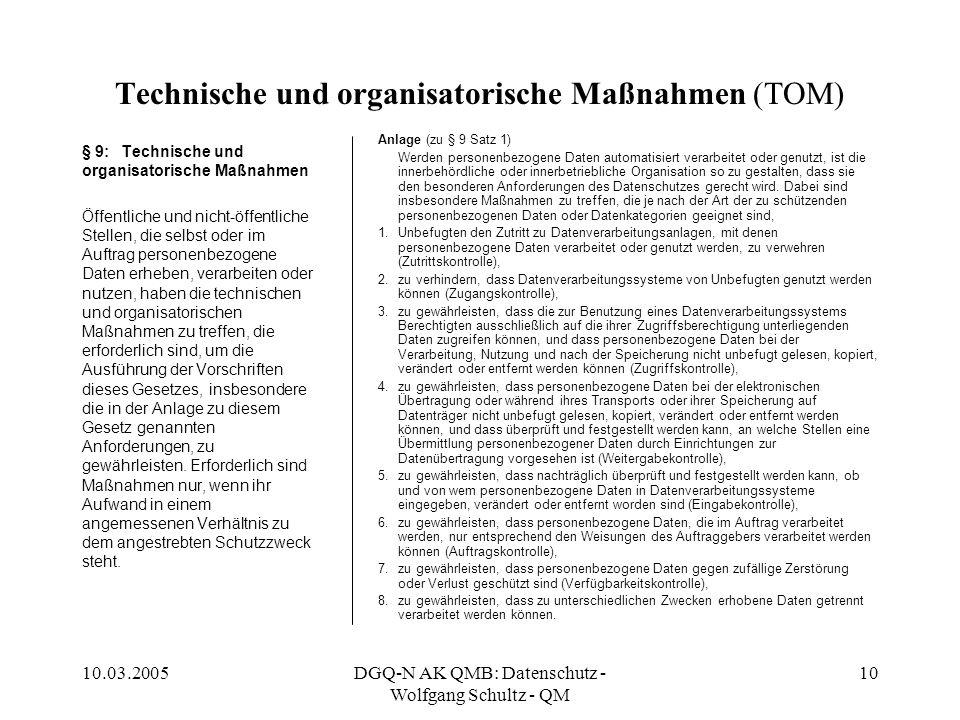 Technische und organisatorische Maßnahmen (TOM)