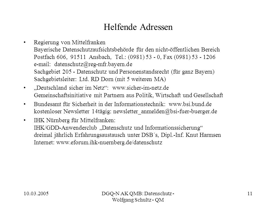 DGQ-N AK QMB: Datenschutz - Wolfgang Schultz - QM