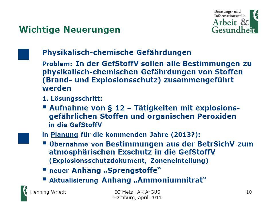 Wichtige Neuerungen Physikalisch-chemische Gefährdungen