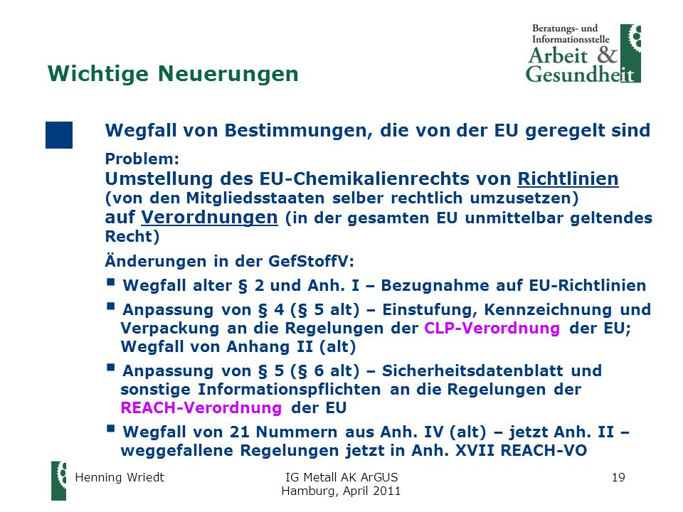 Wichtige Neuerungen Wegfall von Bestimmungen, die von der EU geregelt sind. Problem: