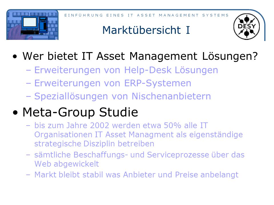 Meta-Group Studie Marktübersicht I