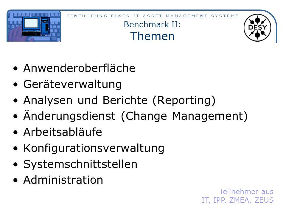 Analysen und Berichte (Reporting) Änderungsdienst (Change Management)