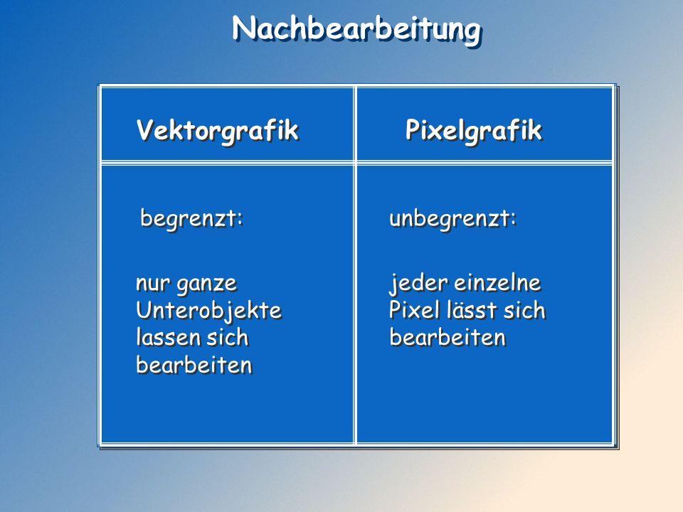 Nachbearbeitung Vektorgrafik Pixelgrafik begrenzt: unbegrenzt: