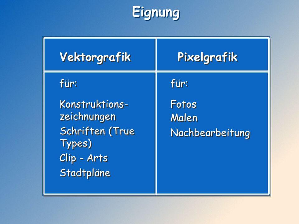 Eignung Vektorgrafik Pixelgrafik für: für: Konstruktions-zeichnungen