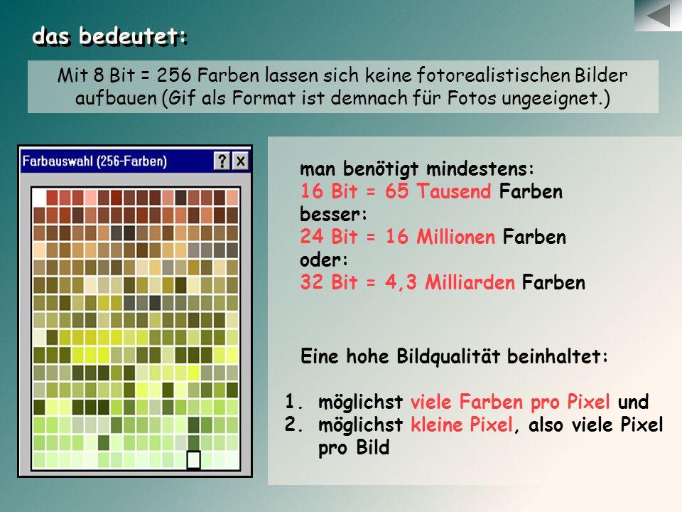 das bedeutet: Mit 8 Bit = 256 Farben lassen sich keine fotorealistischen Bilder aufbauen (Gif als Format ist demnach für Fotos ungeeignet.)