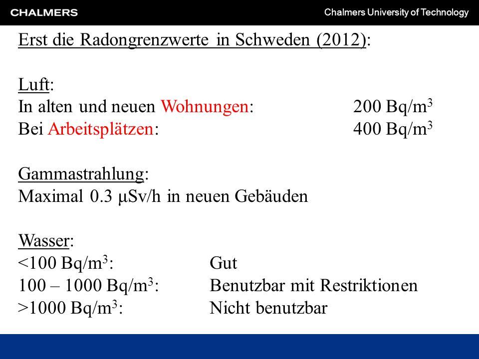 Erst die Radongrenzwerte in Schweden (2012):