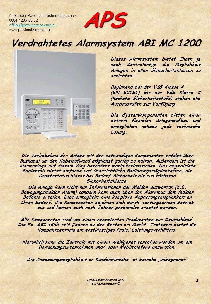 Verdrahtetes Alarmsystem ABI MC 1200
