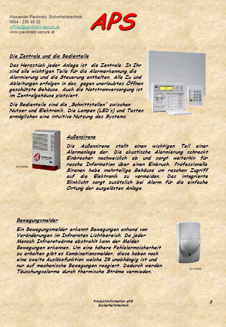 Produktinformation APS Sicherheitstechnik