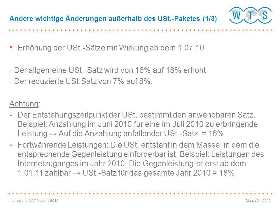 Erhöhung der USt.-Sätze mit Wirkung ab dem 1.07.10