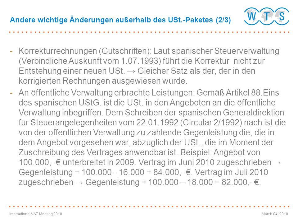 Andere wichtige Änderungen außerhalb des USt.-Paketes (2/3)