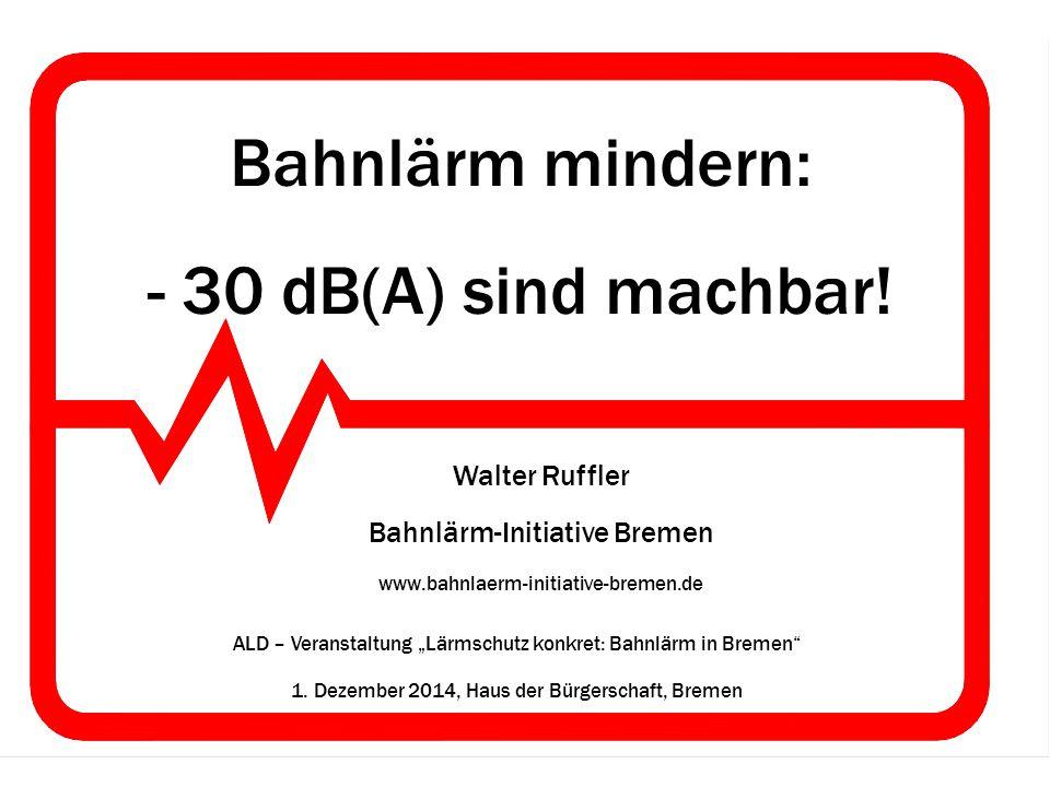 Bahnlärm mindern: - 30 dB(A) sind machbar! Walter Ruffler