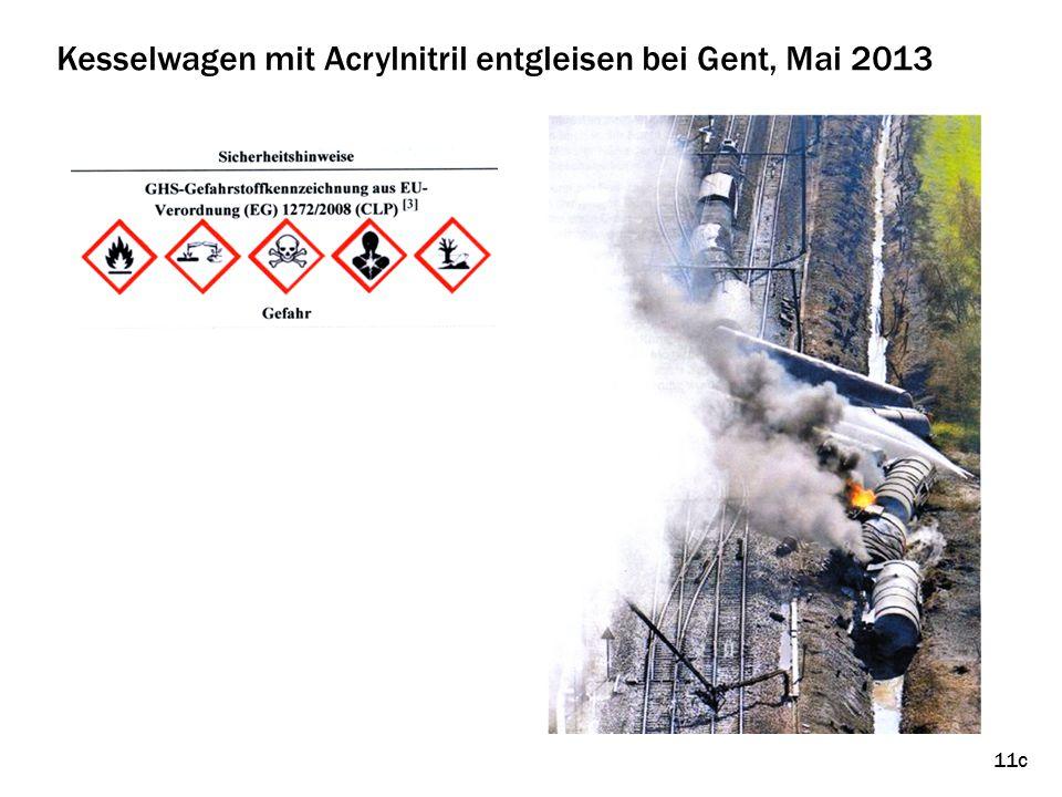 Kesselwagen mit Acrylnitril entgleisen bei Gent, Mai 2013