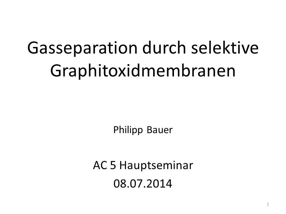Gasseparation durch selektive Graphitoxidmembranen
