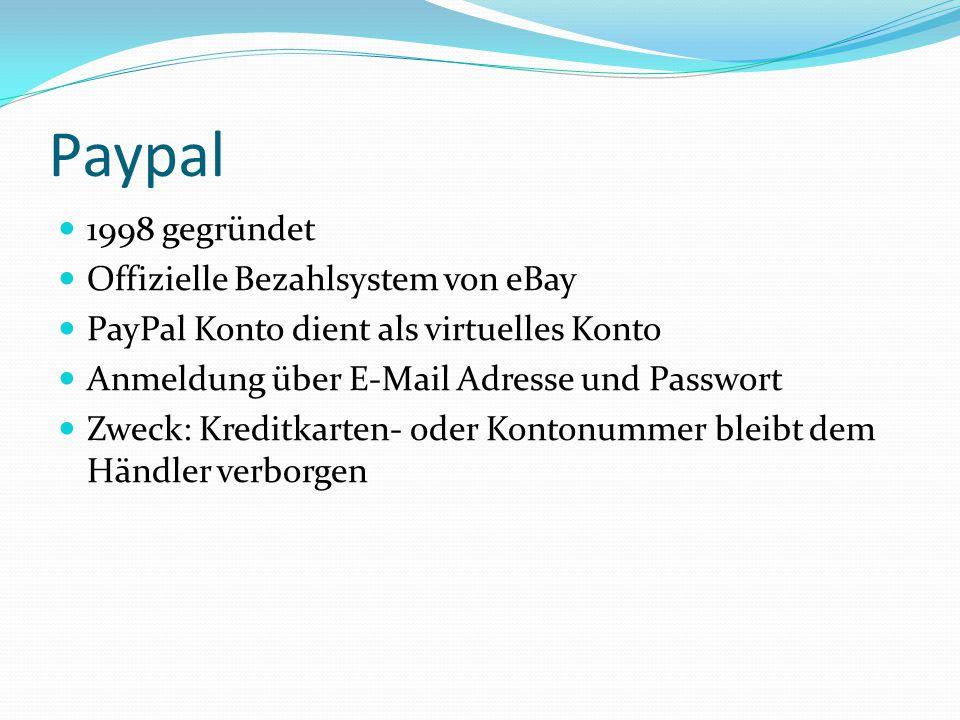 Paypal 1998 gegründet Offizielle Bezahlsystem von eBay