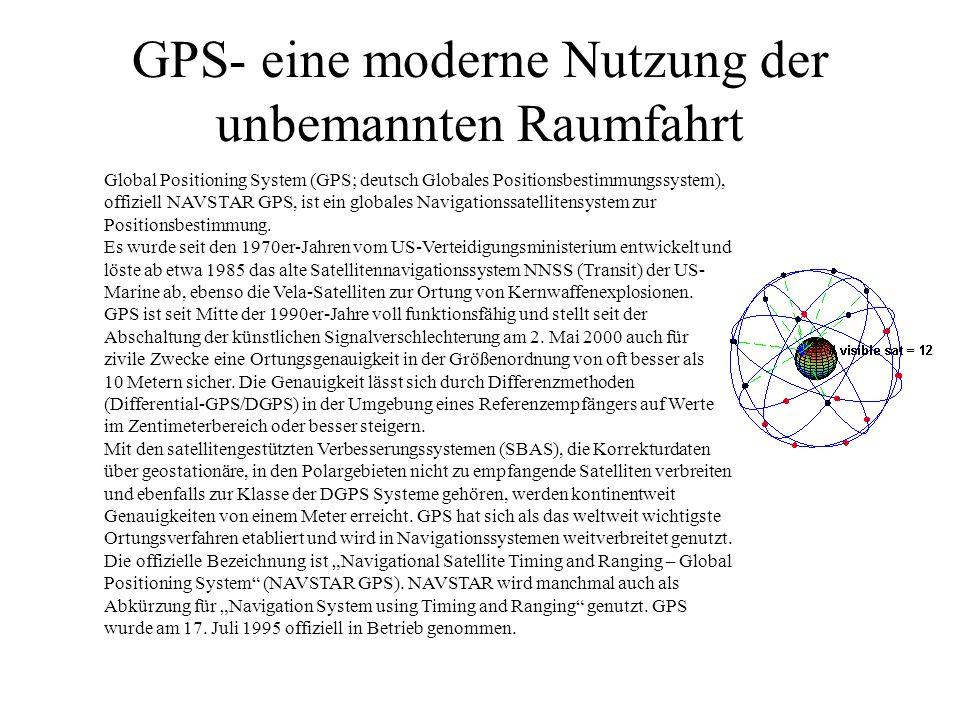 GPS- eine moderne Nutzung der unbemannten Raumfahrt