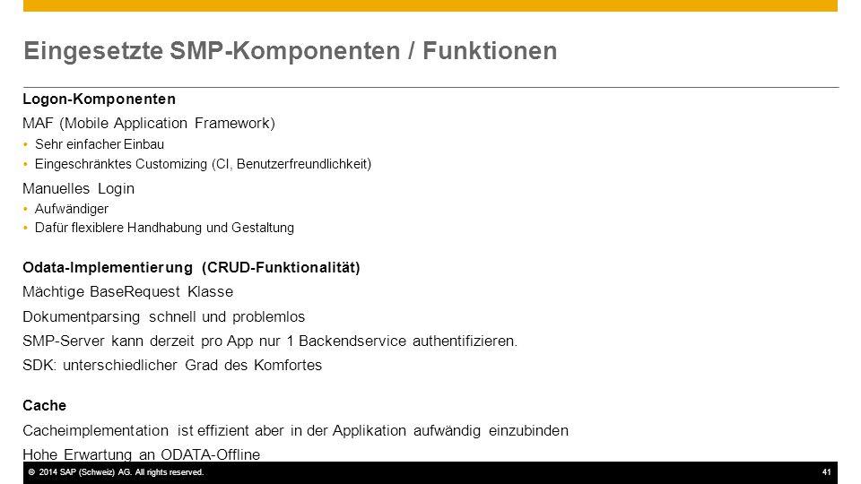 Eingesetzte SMP-Komponenten / Funktionen