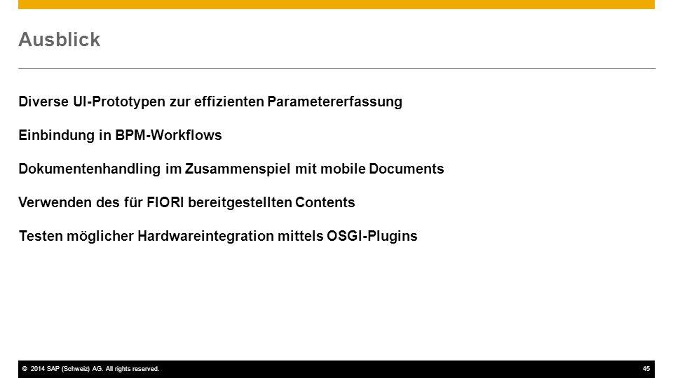 Ausblick Diverse UI-Prototypen zur effizienten Parametererfassung