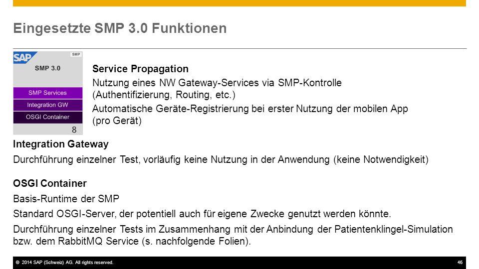 Eingesetzte SMP 3.0 Funktionen