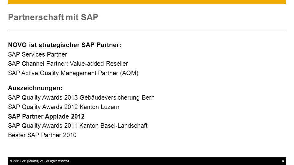 Partnerschaft mit SAP NOVO ist strategischer SAP Partner: