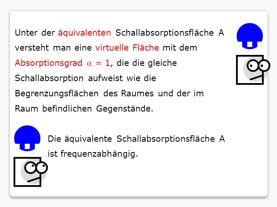 Unter der äquivalenten Schallabsorptionsfläche A versteht man eine virtuelle Fläche mit dem Absorptionsgrad a = 1, die die gleiche Schallabsorption aufweist wie die Begrenzungsflächen des Raumes und der im Raum befindlichen Gegenstände.