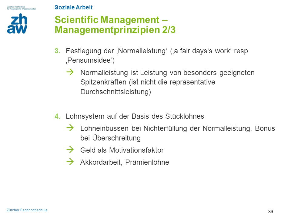 Scientific Management – Managementprinzipien 2/3