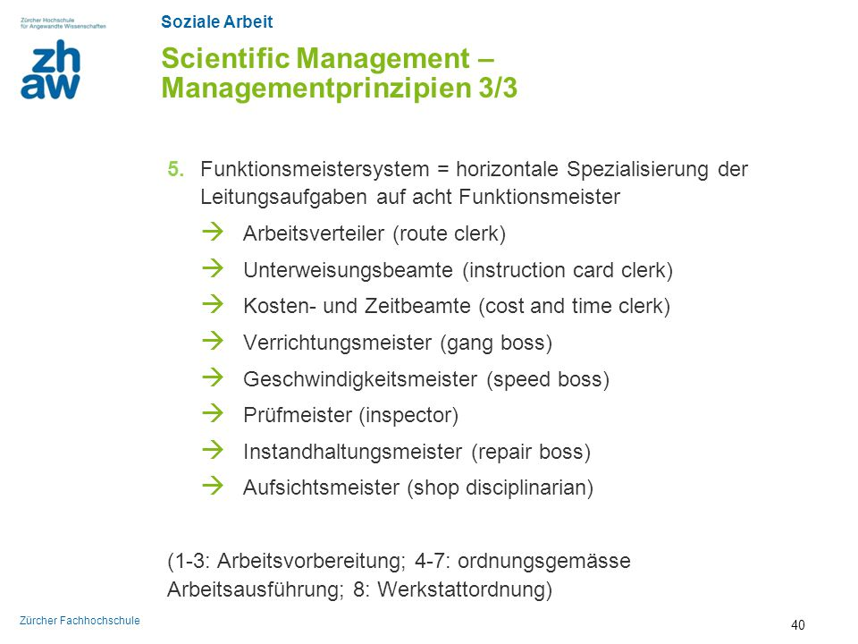Scientific Management – Managementprinzipien 3/3