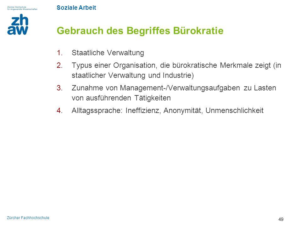 Gebrauch des Begriffes Bürokratie