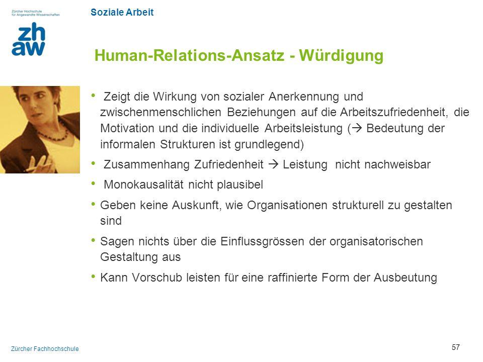 Human-Relations-Ansatz - Würdigung