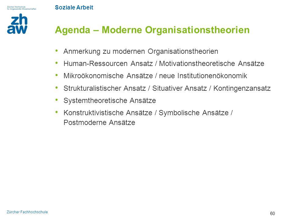 Agenda – Moderne Organisationstheorien