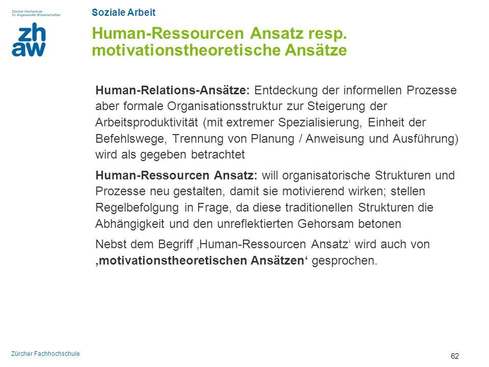 Human-Ressourcen Ansatz resp. motivationstheoretische Ansätze