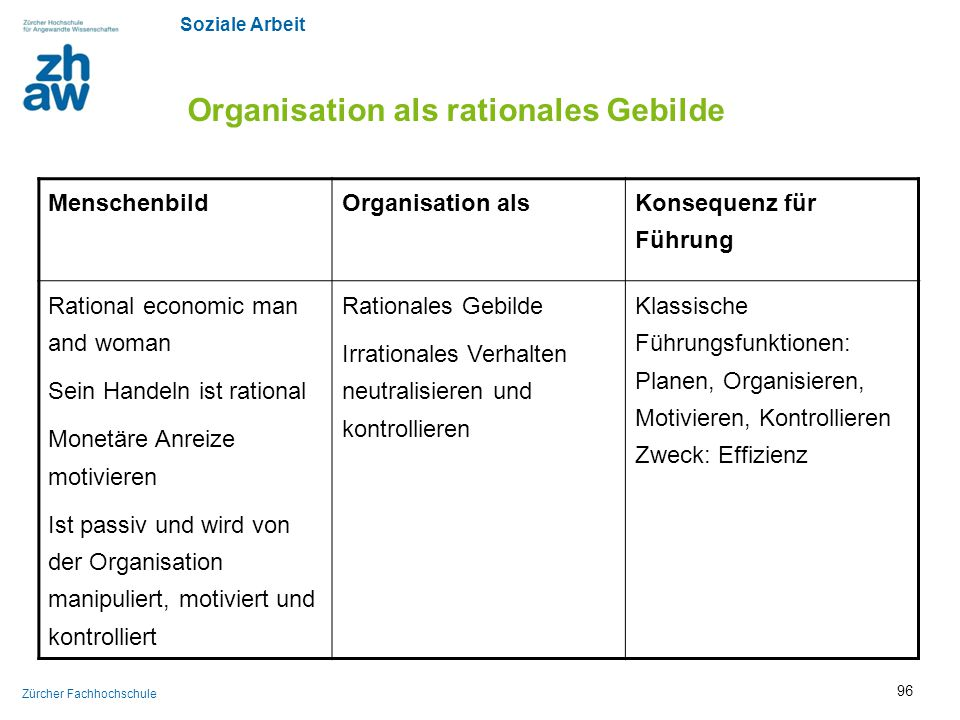 Organisation als rationales Gebilde