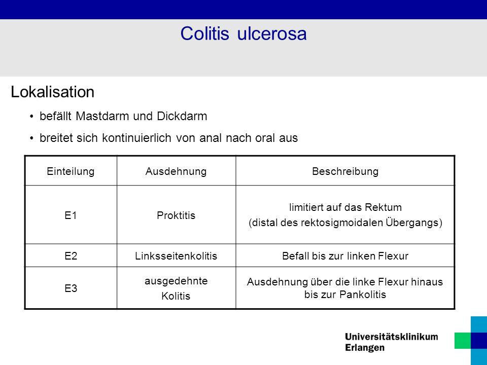 Colitis ulcerosa Lokalisation befällt Mastdarm und Dickdarm