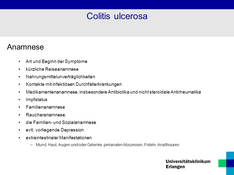 Colitis ulcerosa Anamnese Art und Beginn der Symptome