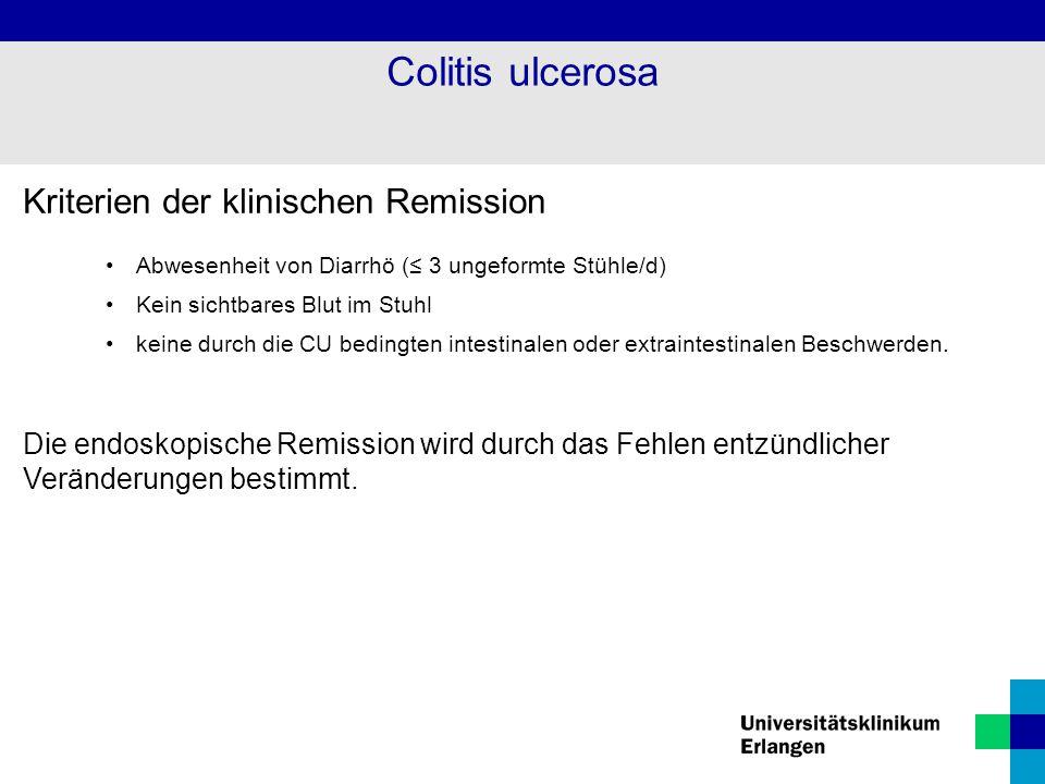 Colitis ulcerosa Kriterien der klinischen Remission