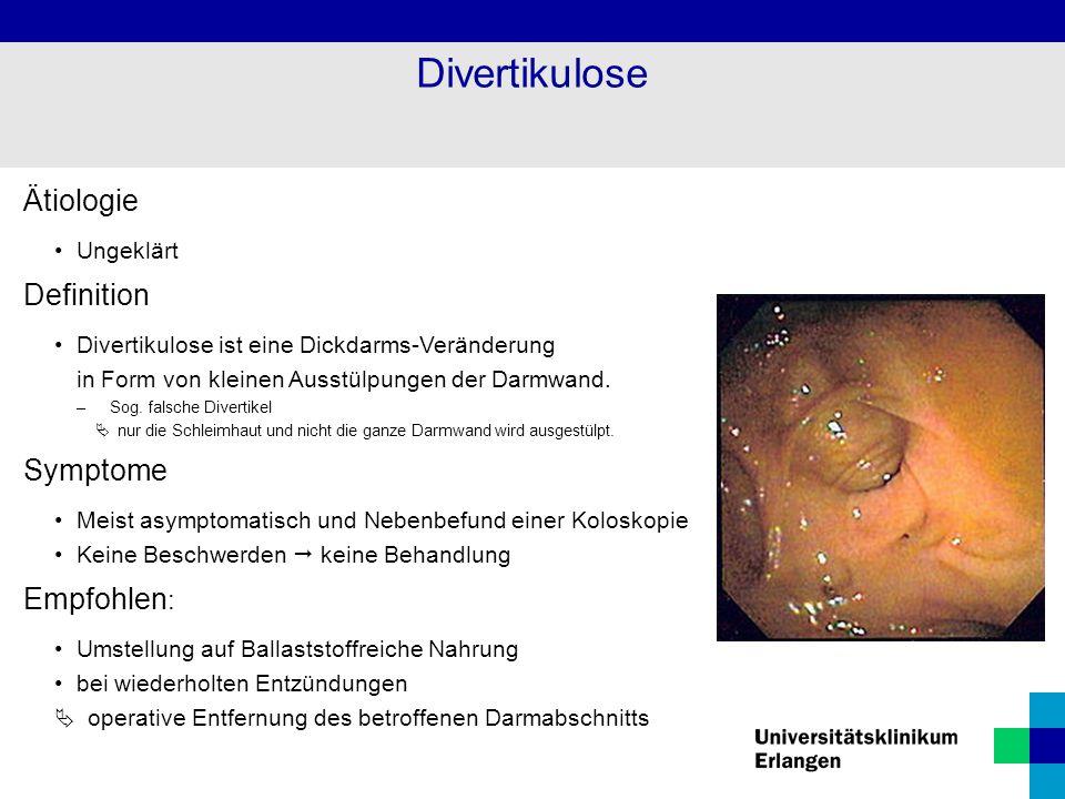 Divertikulose Ätiologie Definition Symptome Empfohlen: Ungeklärt