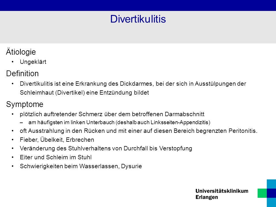 Divertikulitis Ätiologie Definition Symptome Ungeklärt
