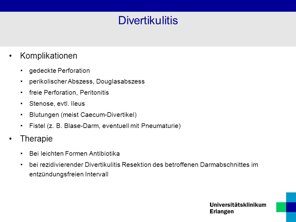 Divertikulitis Komplikationen Therapie gedeckte Perforation