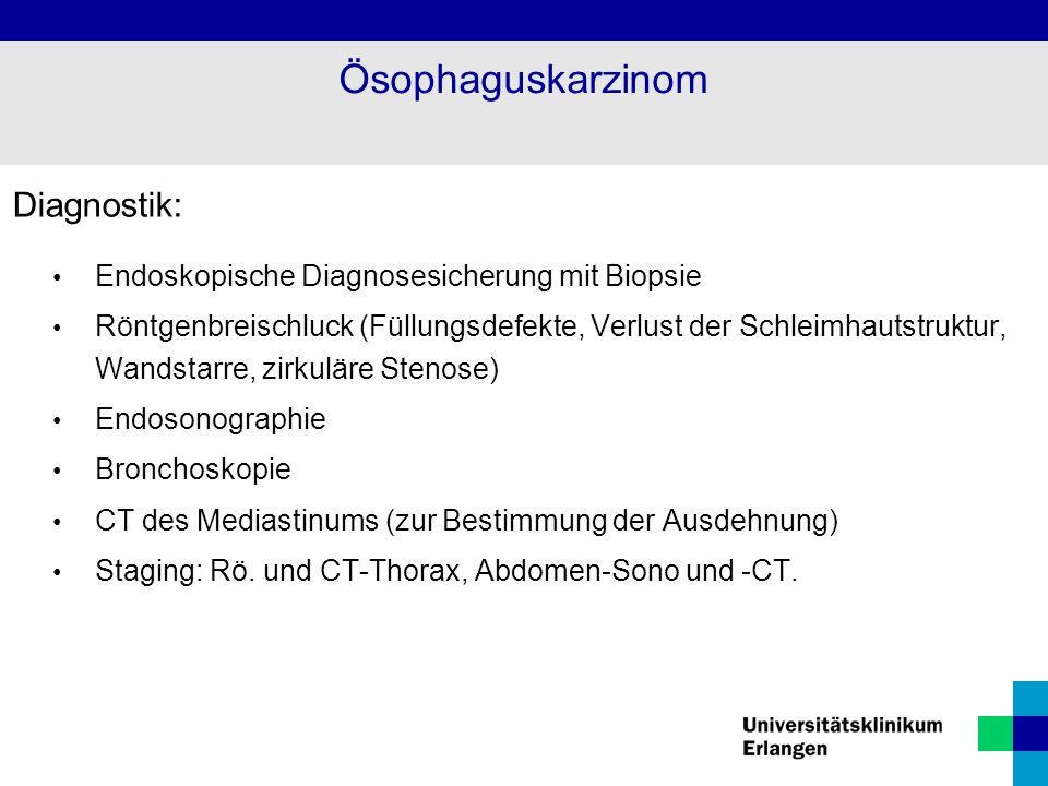 Ösophaguskarzinom Diagnostik: