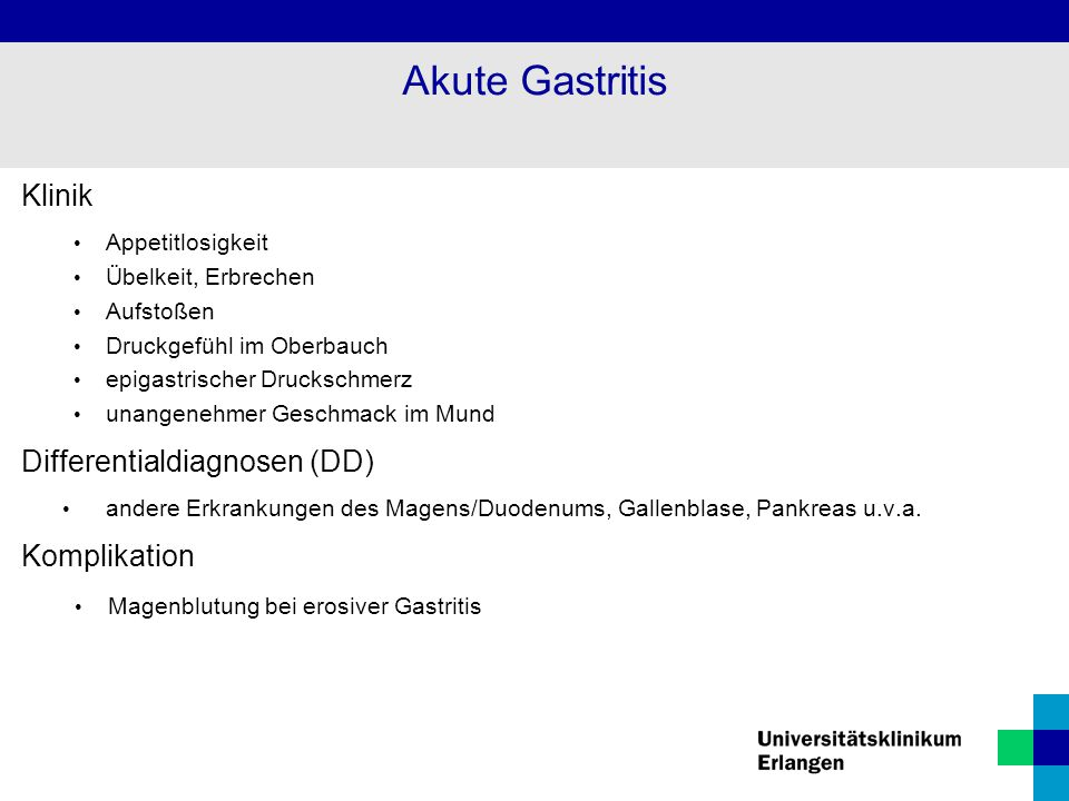 Akute Gastritis Klinik Differentialdiagnosen (DD) Komplikation