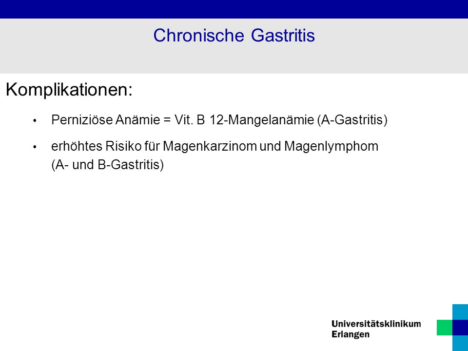 Chronische Gastritis Komplikationen:
