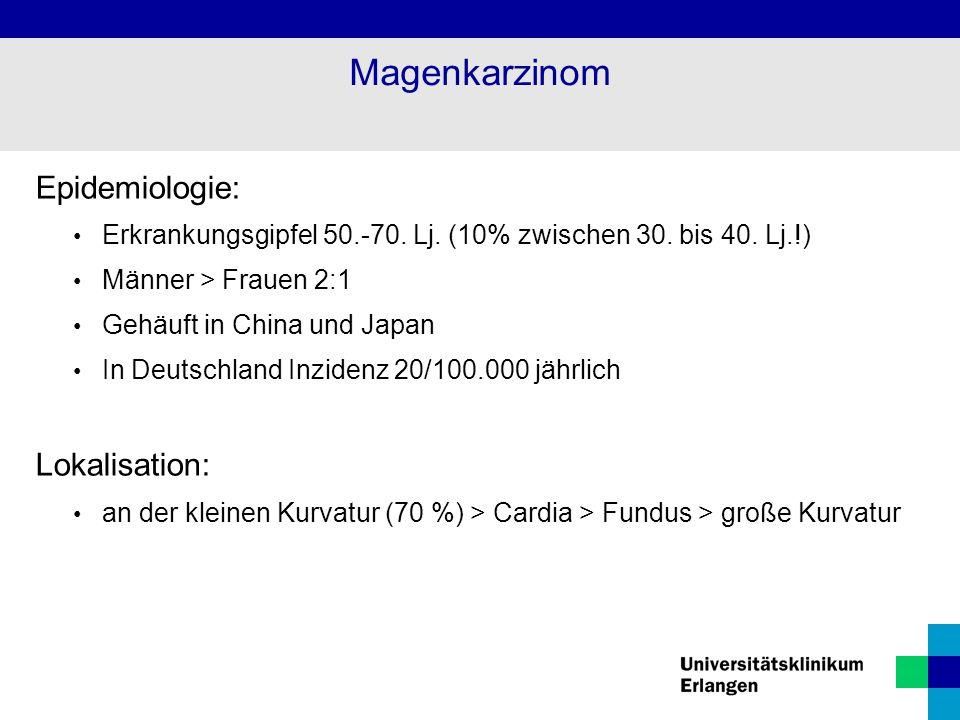 Magenkarzinom Epidemiologie: Lokalisation: