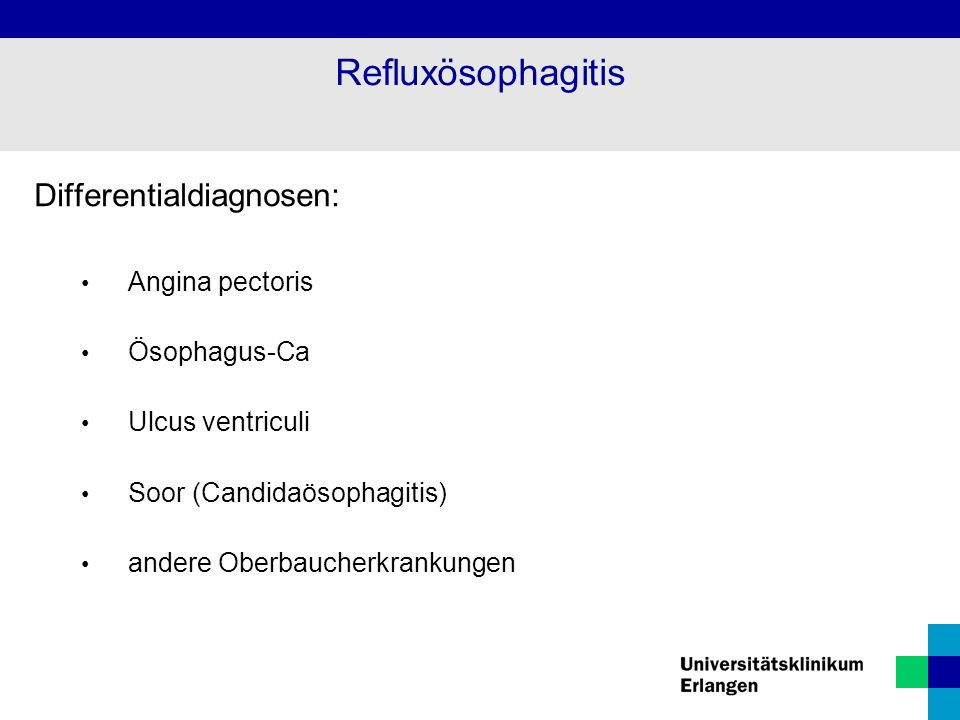 Refluxösophagitis Differentialdiagnosen: Angina pectoris Ösophagus-Ca