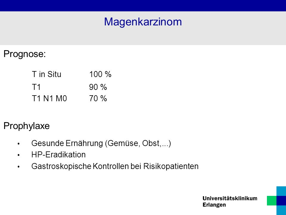 Magenkarzinom T in Situ 100 % Prognose: Prophylaxe T1 90 %