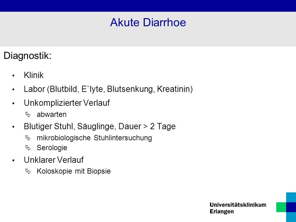 Akute Diarrhoe Diagnostik: Klinik