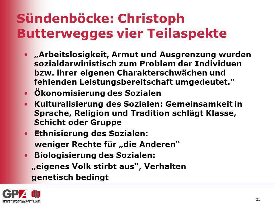 Sündenböcke: Christoph Butterwegges vier Teilaspekte