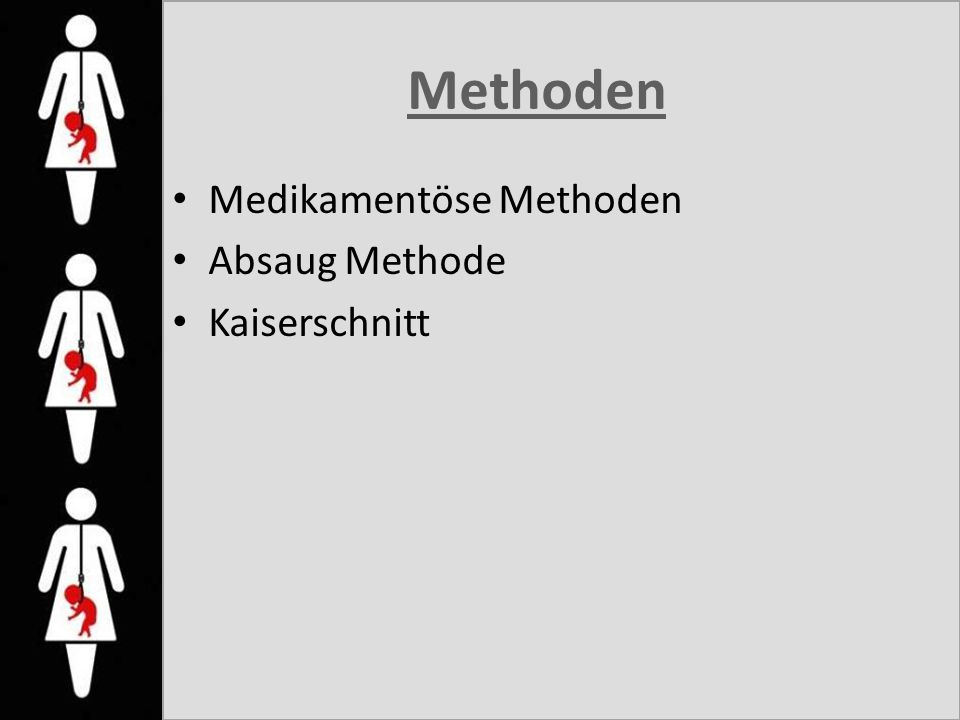 Methoden Medikamentöse Methoden Absaug Methode Kaiserschnitt