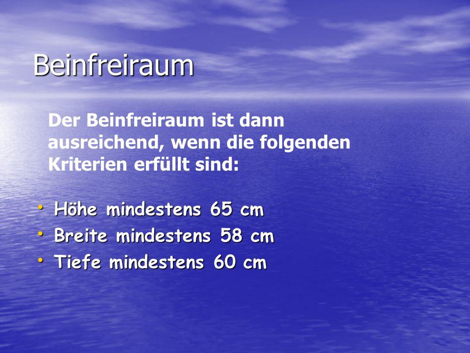 Beinfreiraum Der Beinfreiraum ist dann ausreichend, wenn die folgenden Kriterien erfüllt sind: Höhe mindestens 65 cm.