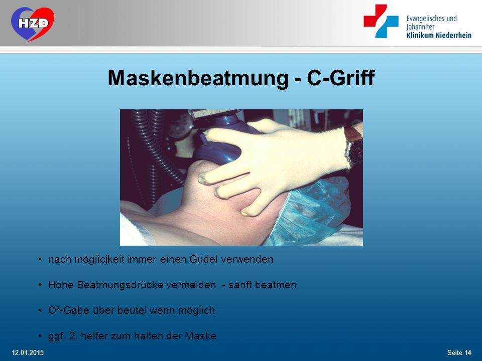 Maskenbeatmung - C-Griff